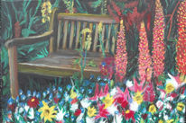 Blumen, Garten, Bank, Malerei