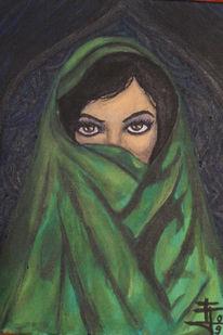 Frau, Schleier, Orient, Malerei