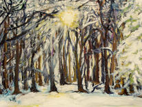 Baum, Sonne, Winter, Malerei
