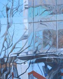 Ölmalerei, Architektur, Natur, Spiegelung
