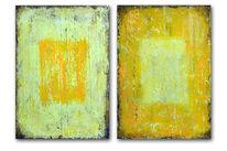 Gelb, Türkis, Malplatte, 2x100x70