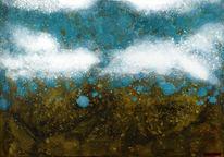 Acrylmalerei, Schwarz, Landschaft, Blau