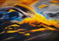 Ölmalerei, Sonnenuntergang am fluss, Natur, Malerei