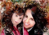Schwestern, Herbst, Kind, Lächeln