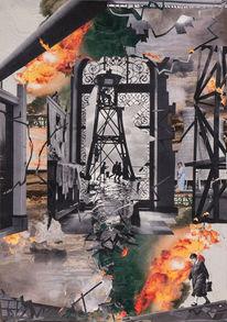 Inferno, Scherenschnitt, Feuer, Surreal