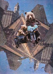 Scherenschnitt, Bär, Motorrad, Collage