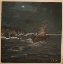 Mond, Vollmond, Nacht, Wasser
