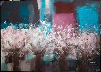 Kirschblüte, Frühling, Abstrakt, Malerei