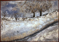 Kälte, Winterlandschaft, Malerei, Winter