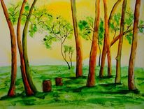 Landschaftsmalerei, Äste, Natur, Aquarell landschaft