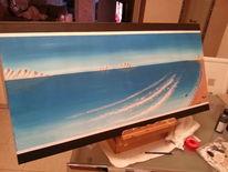 Gemälde, Acrylmalerei, Brandung, Meer