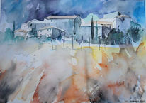 Aquarellmalerei, Dorf, Landschaft, Toskana