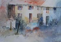 Gehöft, Aquarellmalerei, Bauernhof, Aquarell