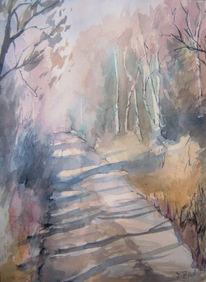 Aquarellmalerei, Weg, Baum, Aquarell