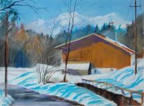 Winter, Pastellmalerei, Nußdorf, Schnee