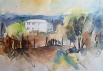Landschaft, Haus, Berge, Toskana