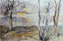 Waldsee, See, Aquarellmalerei, Baum