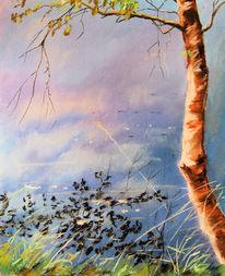 Weiher, Pastellmalerei, Birken, Wasser