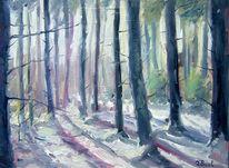Baum, Gegenlicht, Wald, Ölmalerei