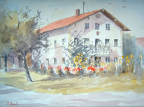 Bauernhof, Aquarellmalerei, Aquarell, Hof