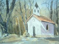 Aquarellmalerei, Kapelle, Aquarell