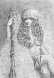Frau, Bleistiftzeichnung, Zeichnungen, Menschen