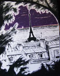Nacht, Paris, Schatten, Licht