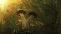 Malerei, Stillleben, Pilze, Herbst