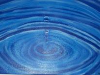 Tropfen, Wasser, Blau, Malerei