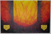 Rot, Feuer, Malerei, Abstrakt