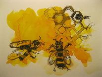 Biene honig, Honigetikett, Aquarell