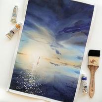 Sonne, Handtuch, Skizze, Aquarellmalerei