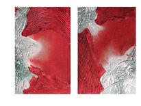 Aquarell, Komposition, Rot, Grün