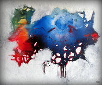 Blau, Fisch, Rot, Malerei