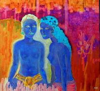 Blumen, Paar, Blau, Malerei