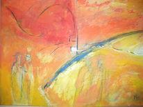 Menschen, Tunnel, Weg, Malerei