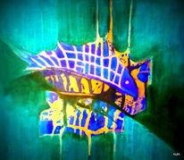 Fisch, Blau, Gelb, Malerei