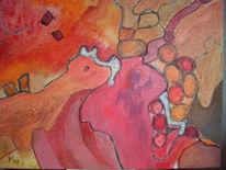 Abstrakt, Feuer, Schlucht, Malerei
