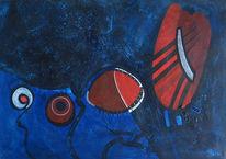 Abstrakt, Rot schwarz, Acrylmalerei, Unterwasser