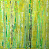 Grün, Wald, Birken, Abstrakt