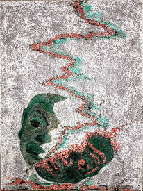 Kupfer, Afrika, Maske, Mohn