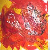 Mischkunst, Acrylmalerei, Bast, Leinen
