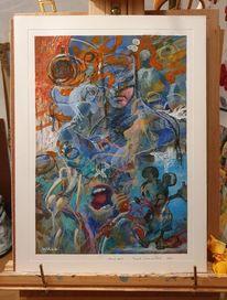 Wand, Comic, Malerei,