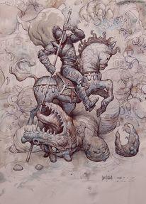 Aquarellmalerei, Natur, Technik, Mauer