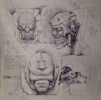 Malen, Mauer, Zeichnungen, Skizze