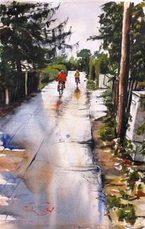 Aquarellmalerei, Aquarell, Regen