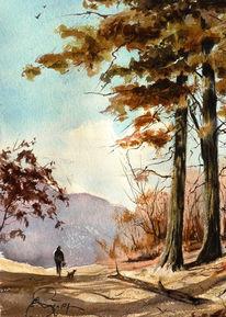 Landschaft, Malerei, Wasserfarben, Aquarellmalerei