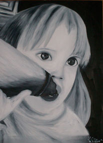 Kind, Mädchen, Ölmalerei, Gesicht