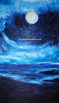 Blau, Ölmalerei, Meer, Wasser