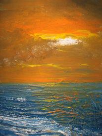 Sonnenuntergang, Malerei, Welle